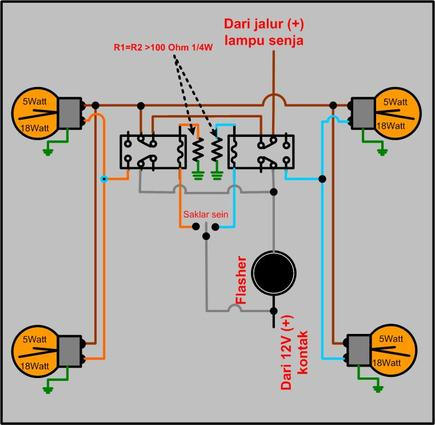 dpdt relay with Cara Buat L U Senja Sekaligus L U Sein on 12 Vdc Automotive 5 Pin Relay Spdt 30 40a Bosch Type 330 073 besides 12v Relay 5 Pin moreover H3y 2 220v Power On Time Delay Relay Solid State Timer Dpdt Socket in addition CMOS Circuit Latches Relays moreover Omron My2n 110 120vac Relay W Led Indicator.